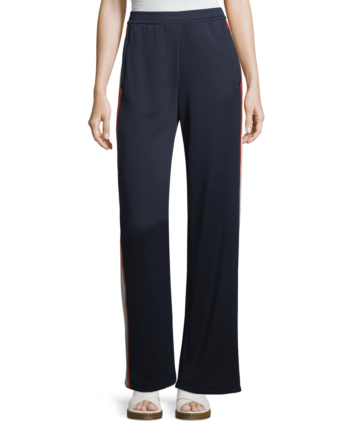 Wide Leg Side Stripe Jersey Track Pants by Tory Sport
