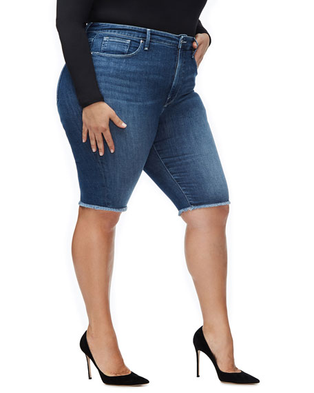 Good American High-Rise Power Stretch Bermuda Shorts - Inclusive Sizing