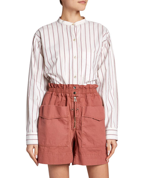 Etoile Isabel Marant Satchell Striped Band-Collar Button-Down Top