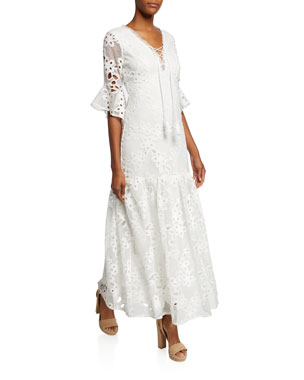 e6f66e8a3f32 Badgley Mischka Lace-Up Floral-Lace Elbow-Sleeve Maxi Dress
