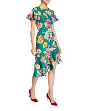 65be2393a9d Black Halo Breelle Floral-Print Flutter-Sleeve Asymmetric Flounce Dress