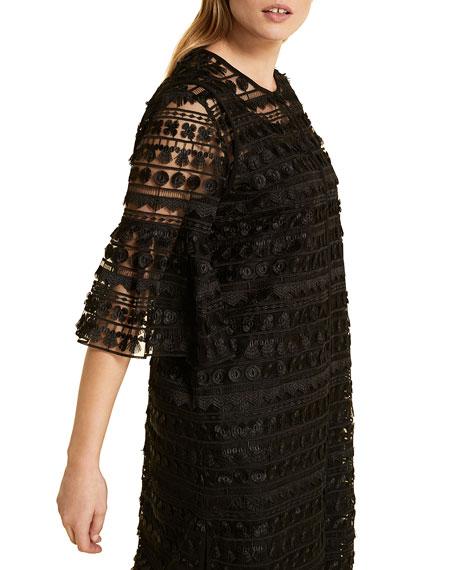 Marina Rinaldi Plus Size Flaminia Embroidered Tulle Bell-Sleeve Duster Jacket