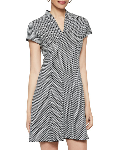 Misook Dobby Pattern Cap-Sleeve Mini Dress