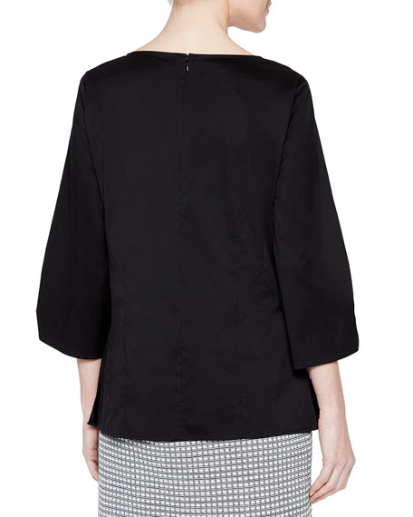 Misook Stretch-Cotton Ruched-Sleeve Blouse