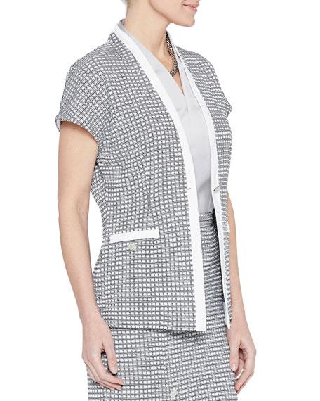 Misook One-Button Short-Sleeve Mini Square Jacket