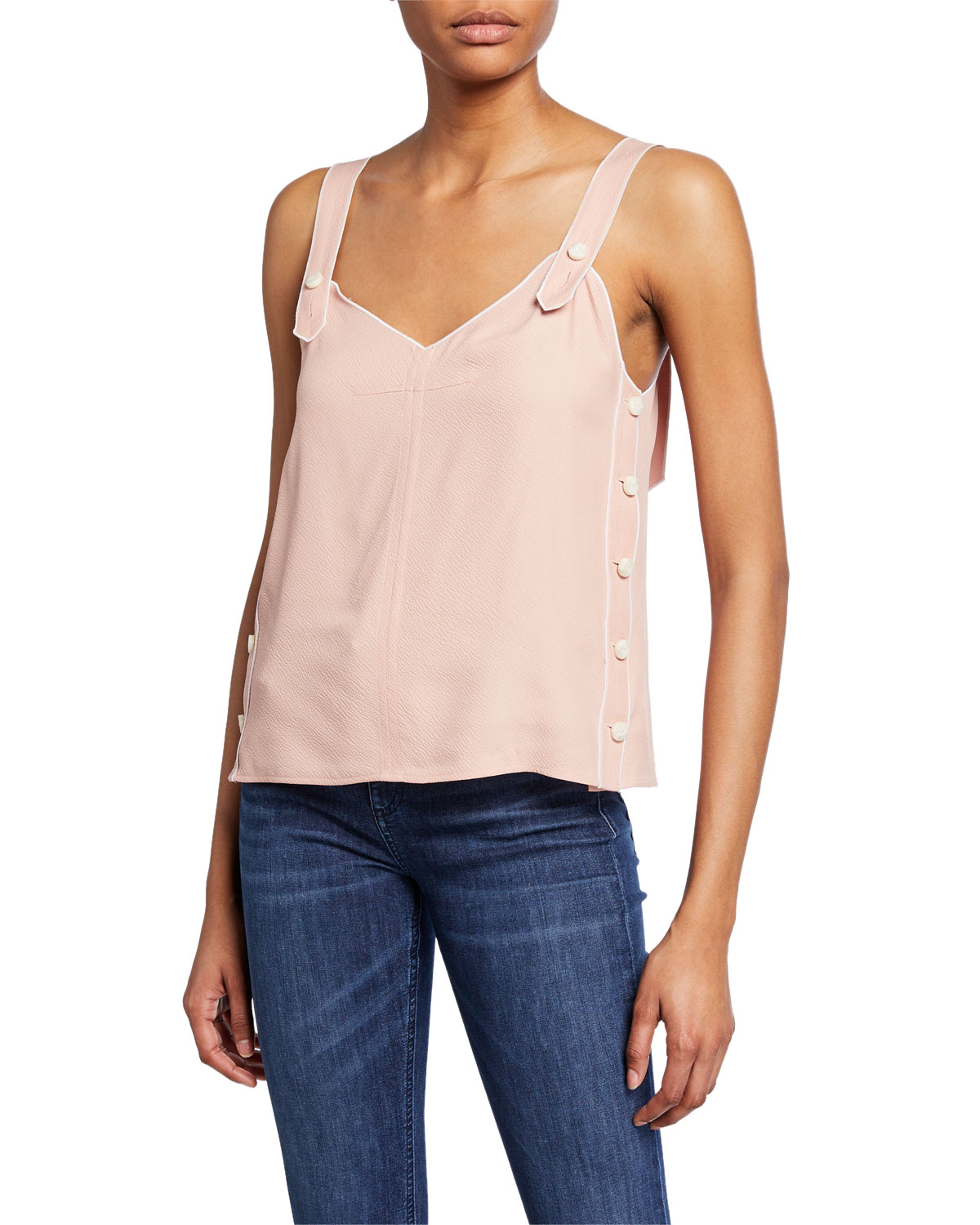 Tia Viscose Tank With Buttons by Rag & Bone