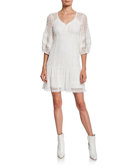 Nanette Lepore Romantic 3/4-Sleeve Lace Dress