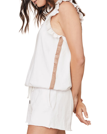 David Lerner Sleeveless Ruffle Pullover with Velvet Stripe