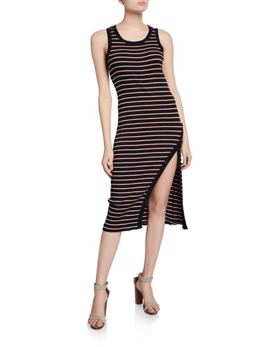 Polymela Striped Tank Dress with Buttons