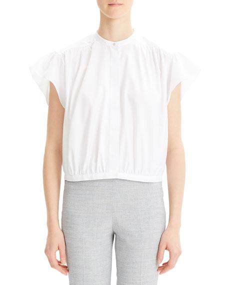 Theory Short-Sleeve Button-Down Shirred Yoke Top