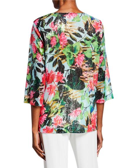 Caroline Rose Plus Size Lush Life Sequined Scoop-Neck 3/4-Sleeve Easy Tunic