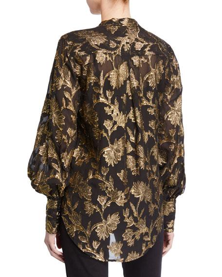 Equipment Boleyn Metallic Bishop-Sleeve Silk Blouse
