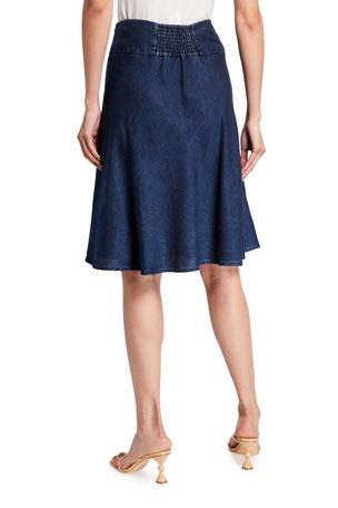 Women Stripe Wide Fold Over High Waist Stretchy Retro Maxi Skirt LA