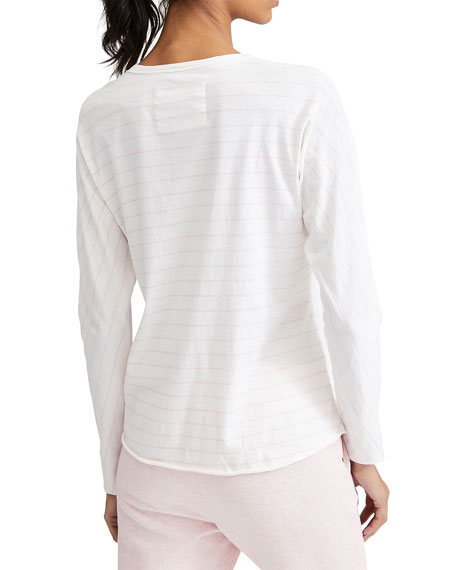 Frank & Eileen Tee Lab Continuous Striped Long-Sleeve Cotton Tee