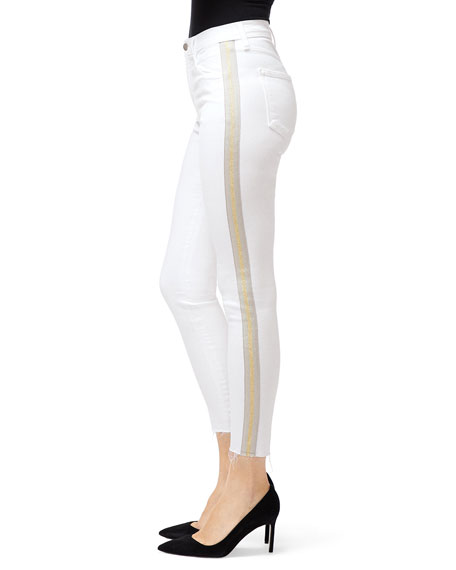 J Brand Alana High-Rise Crop Skinny Jeans with Side Stripes
