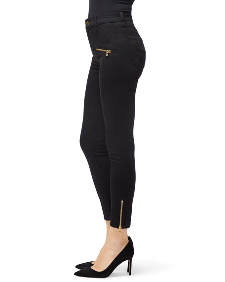 J Brand Alana Cropped High-Rise Skinny Jeans with Zippers