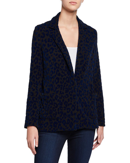 Image 1 of 3: Majestic Filatures Leopard-Print One-Button Blazer