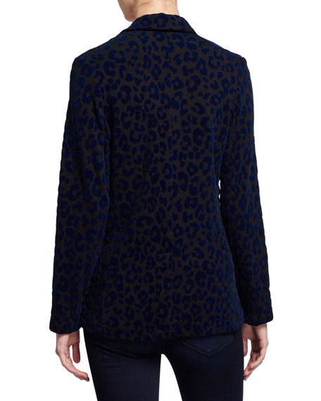 Image 3 of 3: Majestic Filatures Leopard-Print One-Button Blazer