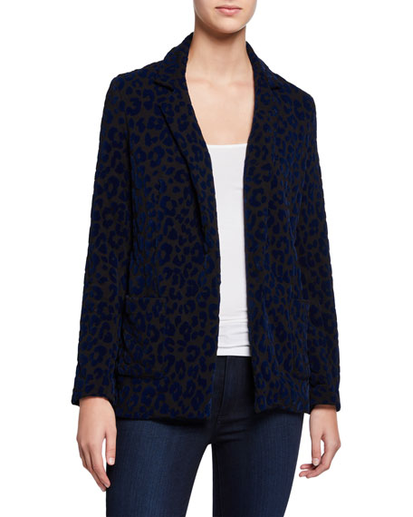 Image 2 of 3: Majestic Filatures Leopard-Print One-Button Blazer