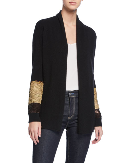 Neiman Marcus Cashmere Collection Two-Way Sequin-Sleeve Cashmere Cardigan
