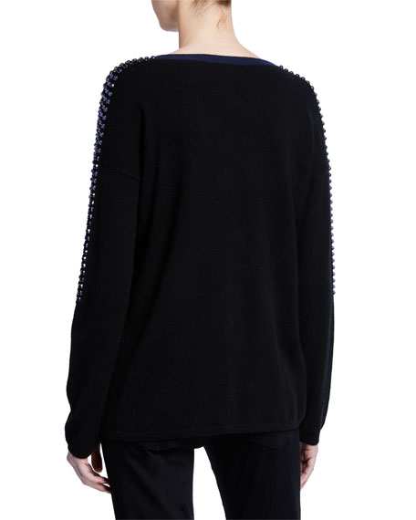 Neiman Marcus Cashmere Collection Embellished Colorblock Cashmere Sweater