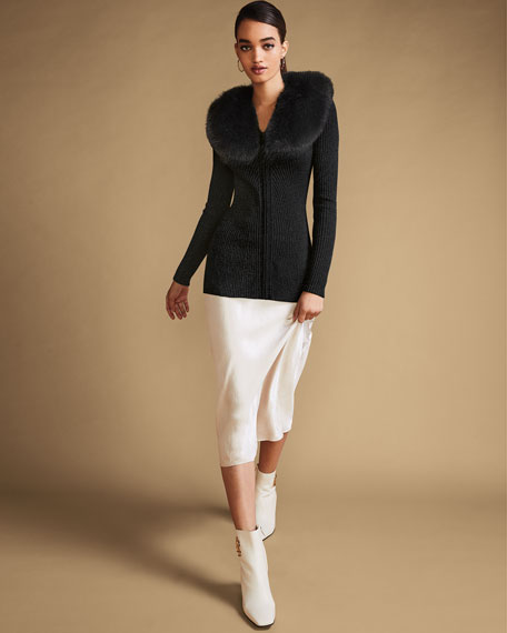 Neiman Marcus Cashmere Collection Zip-Front Cashmere Rib Sweater with Fur Collar