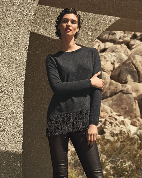 Neiman Marcus Cashmere Collection Asymmetric Metallic Fringe Crewneck Cashmere Sweater