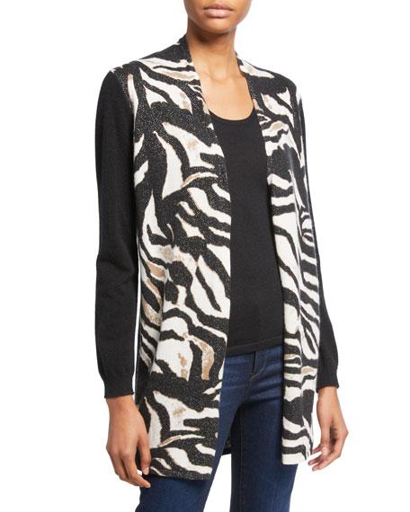 Neiman Marcus Cashmere Collection Zebra-Print Open-Front Cashmere Cardigan