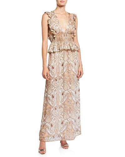 Pallenberg Paisley Shirred Maxi Dress with Bead Trim