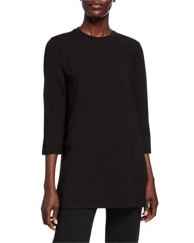Plus Size Crewneck 3/4-Sleeve Jersey Cotton Tunic