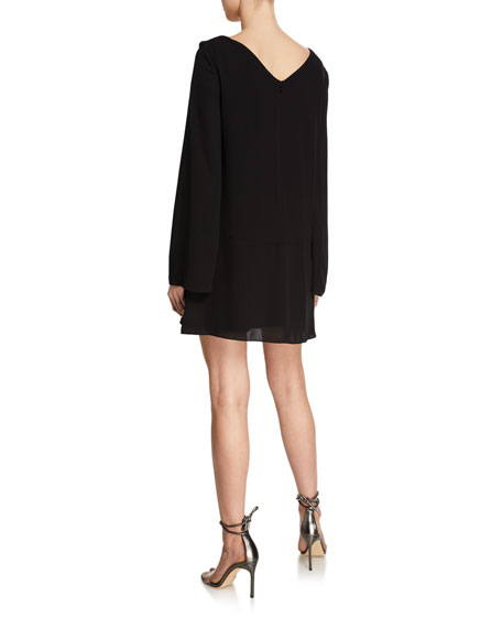 Image 2 of 2: cinq a sept Cecil Gathered Long-Sleeve Shift Dress