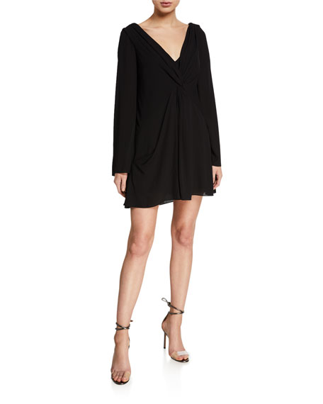 Image 1 of 2: cinq a sept Cecil Gathered Long-Sleeve Shift Dress