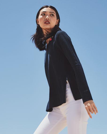 Lisa Todd Petite Zip It Cotton/Cashmere Long-Sleeve Sweater w/ Contrast Zip Detail