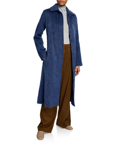 Belted Wool-Blend Slim Coat