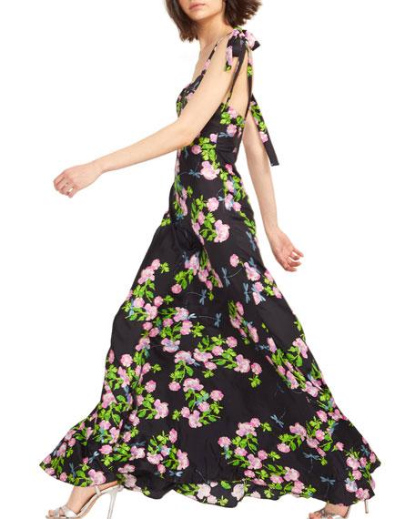 Cynthia Rowley Ten Rose Sweetheart Tie-Shoulder Maxi Dress