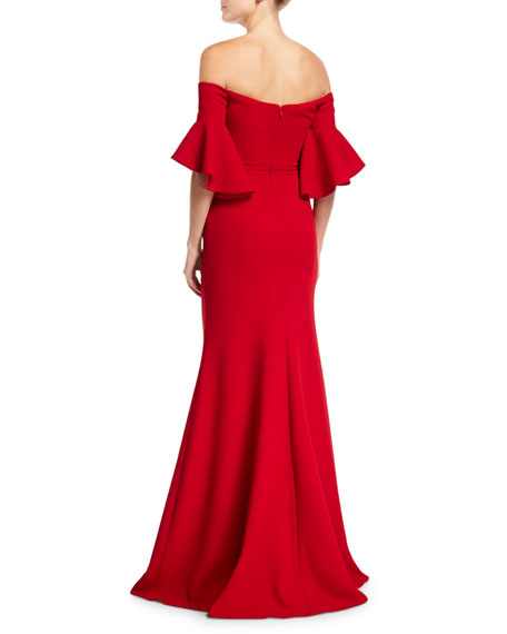 Badgley Mischka Collection Off-the-Shoulder Ruched Crepe Evening Gown