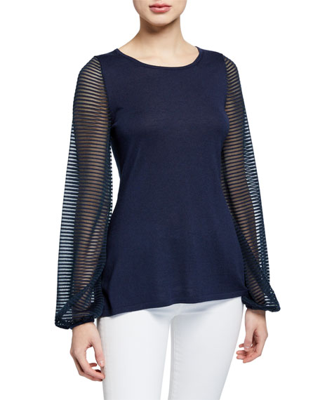 Neiman Marcus Cashmere Collection Cashmere-Blend Scoop-Neck Sheer Blouson-Sleeve Slim Fit Top