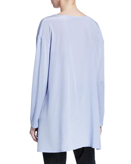 Image 2 of 3: Eileen Fisher Jewel-Neck Long-Sleeve Jersey Front Tunic w/ Silk Back