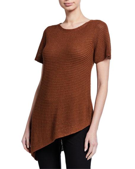 Eileen Fisher Petite Organic Linen/Cotton Short-Sleeve Asymmetric Tunic Sweater