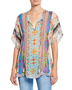 6caa7f1d09e Johnny Was Plus Size Floral Mixed Medai Split-Neck Scallop Hem Georgette  Blouse