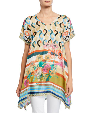 d67f05db38f6b Johnny Was Plus Size Foulard Mixed Media V-Neck Short-Sleeve Silk Georgette  Long