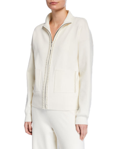 Joan Vass Pearlescent Trim Zip-Front Sweater Jacket