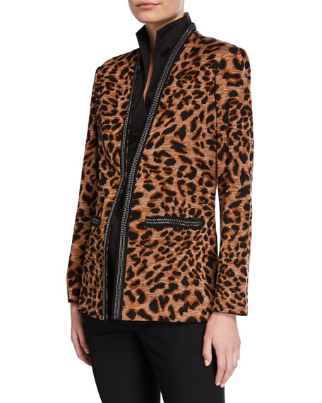 Image 2 of 3: Misook Leopard-Print Jacket with Chain Detail