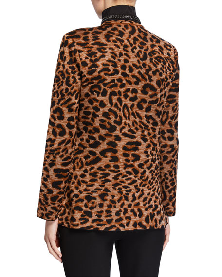Image 3 of 3: Misook Leopard-Print Jacket with Chain Detail