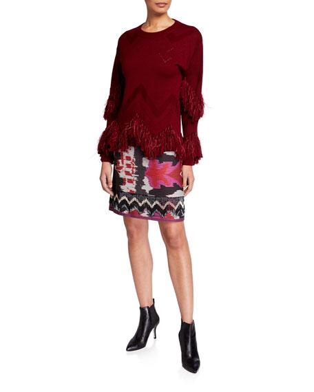 Kobi Halperin Joan Abstract Skirt with Beaded Fringe