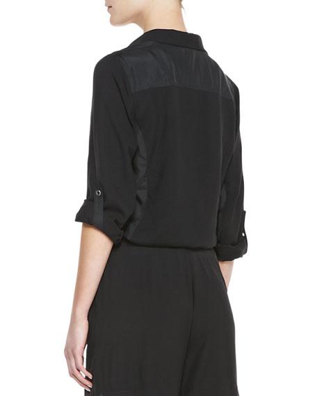 Go Silk Silk Safari Shirt w/ Tab Sleeve Detail