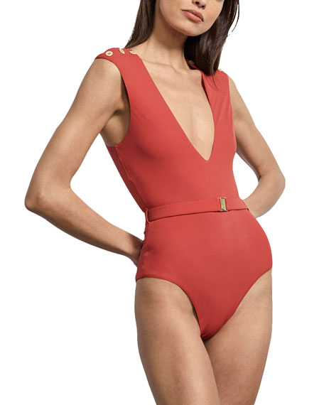 Amaio Fantine Plunging Belted Maillot One-Piece Swimsuit
