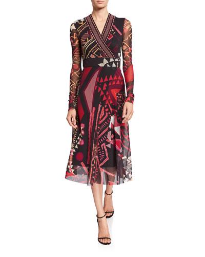 Geometric Trimmed Long-Sleeve V-Neck Midi Dress