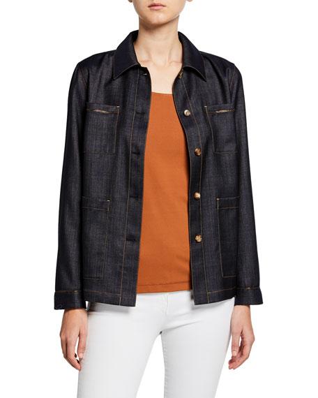 Lafayette 148 New York Plus Size Esmeralda Mercantile Cloth Button-Front Jacket