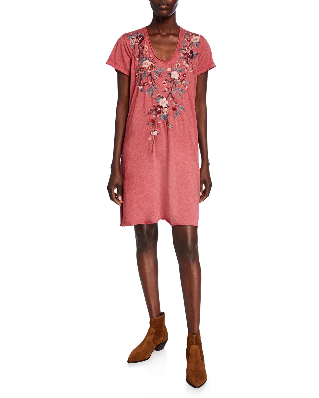 Plus Size Kira Draped V-Neck Short-Sleeve Jersey Dress